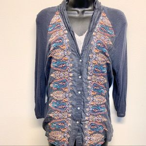 Anthro TINY Silk Blend Embroidered Cardigan